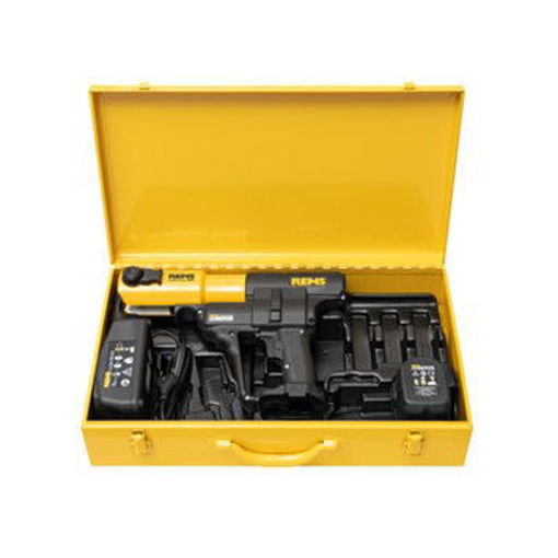 Picture of REMS Akku Press c/w 2.Batteries, 240v Charger,15-35 M-Press Jaws & 42/54mm Slings